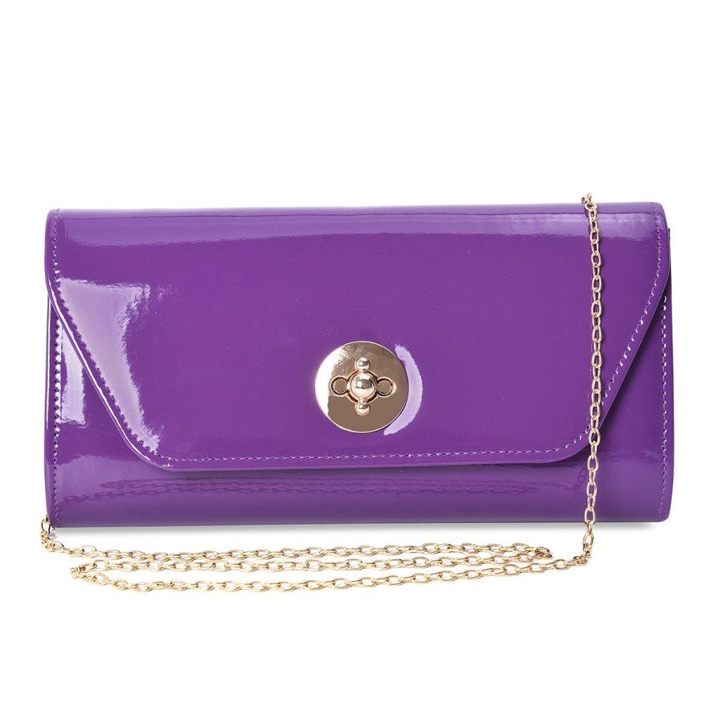 Shiny purple clutch.