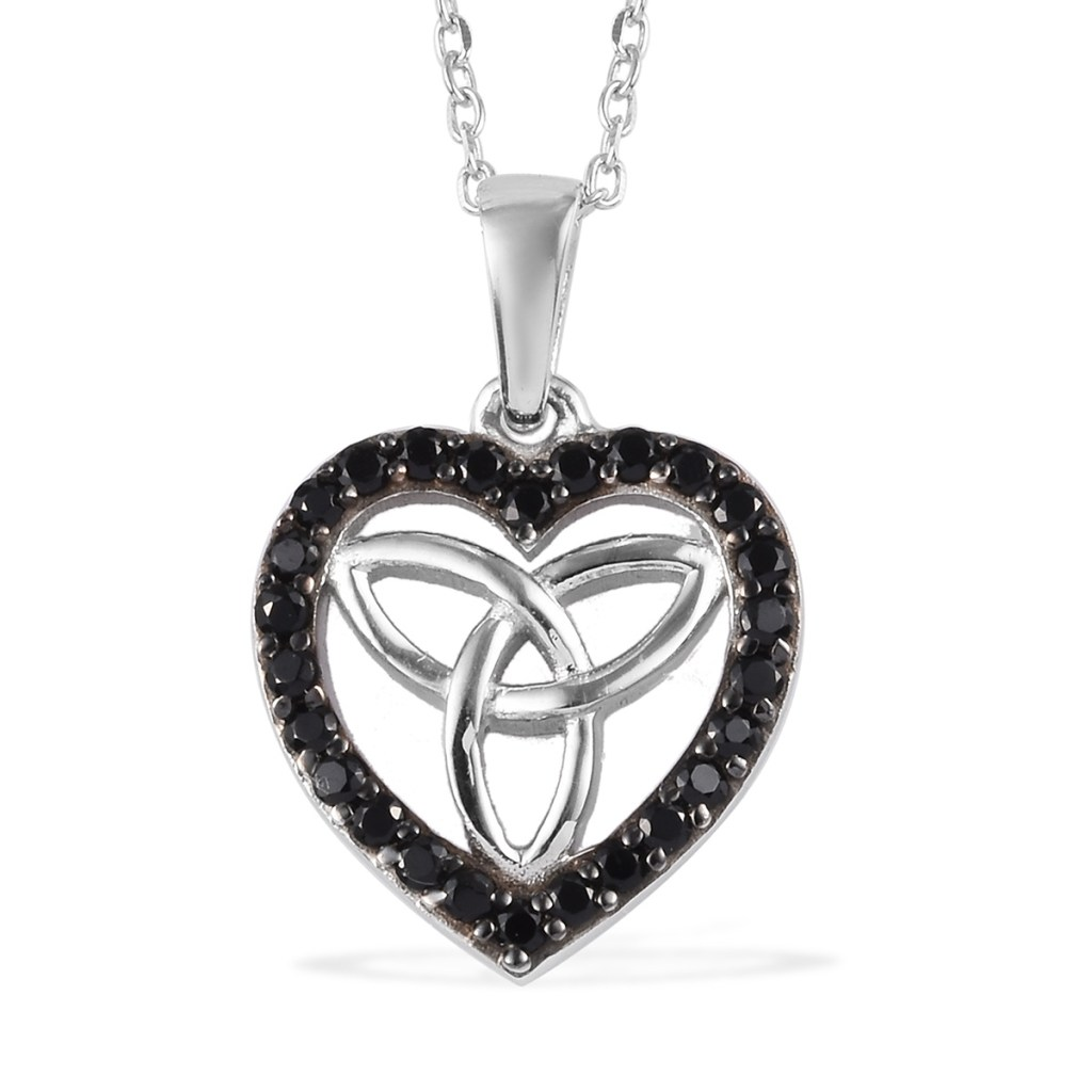 Sterling silver Celtic knot pendant with black spinel accents.