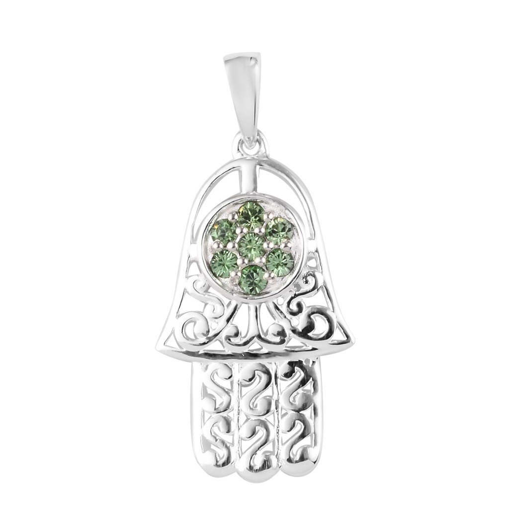 Sterling silver hamsa pendant inspirational jewelry.