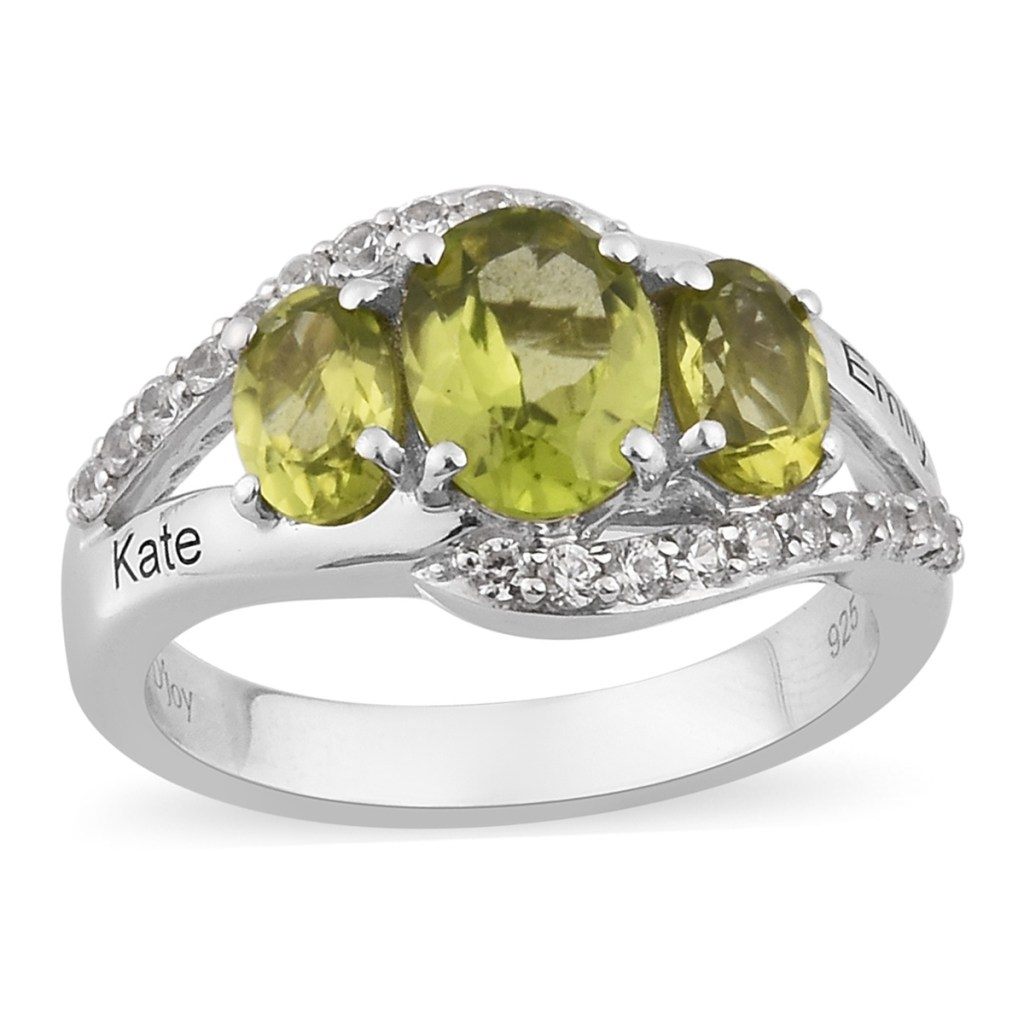 Personalized ring with peridot gems.
