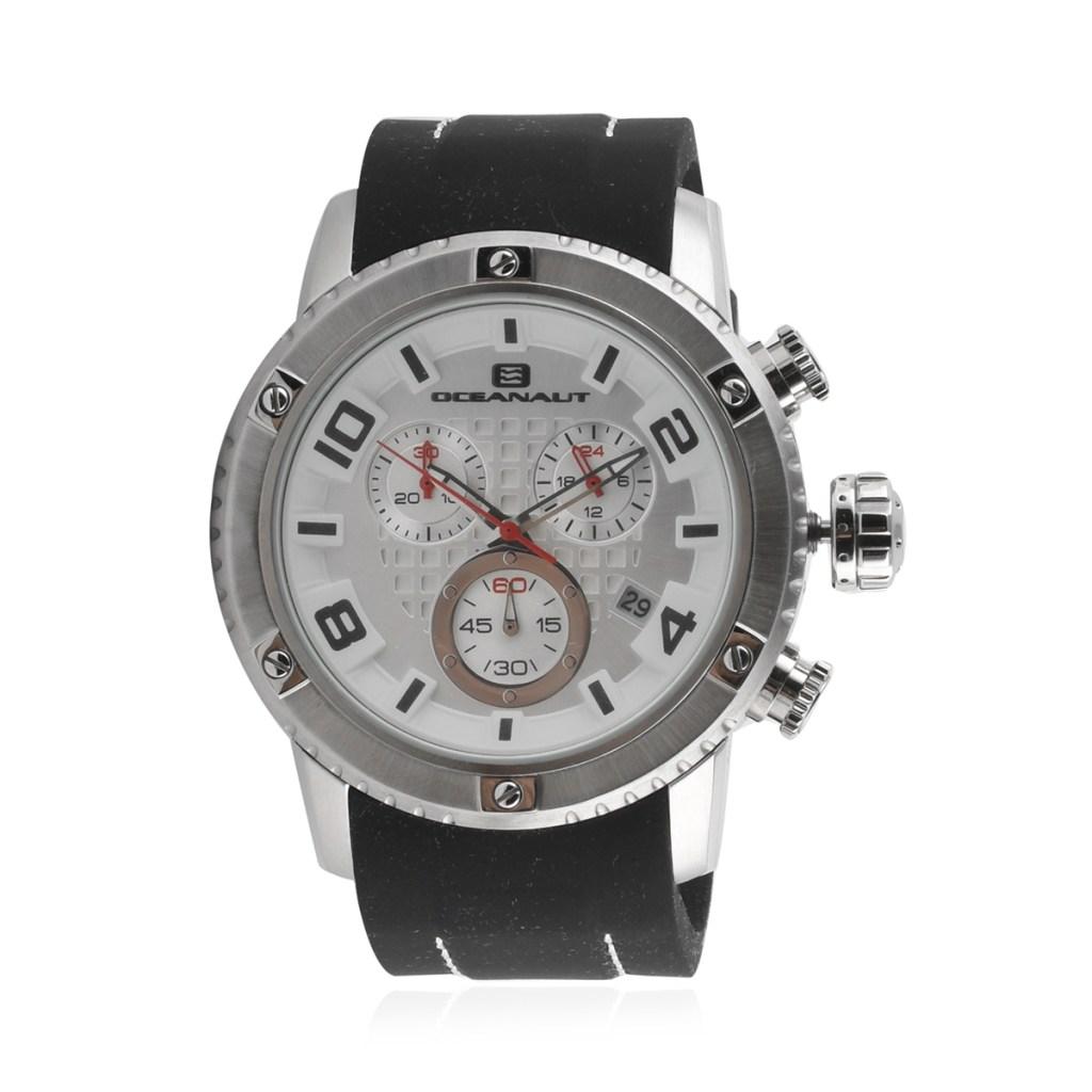 Oceanaut Impulse Sport Quartz Movement Watch with Silver Dial & Black Silicone Strap 45mm