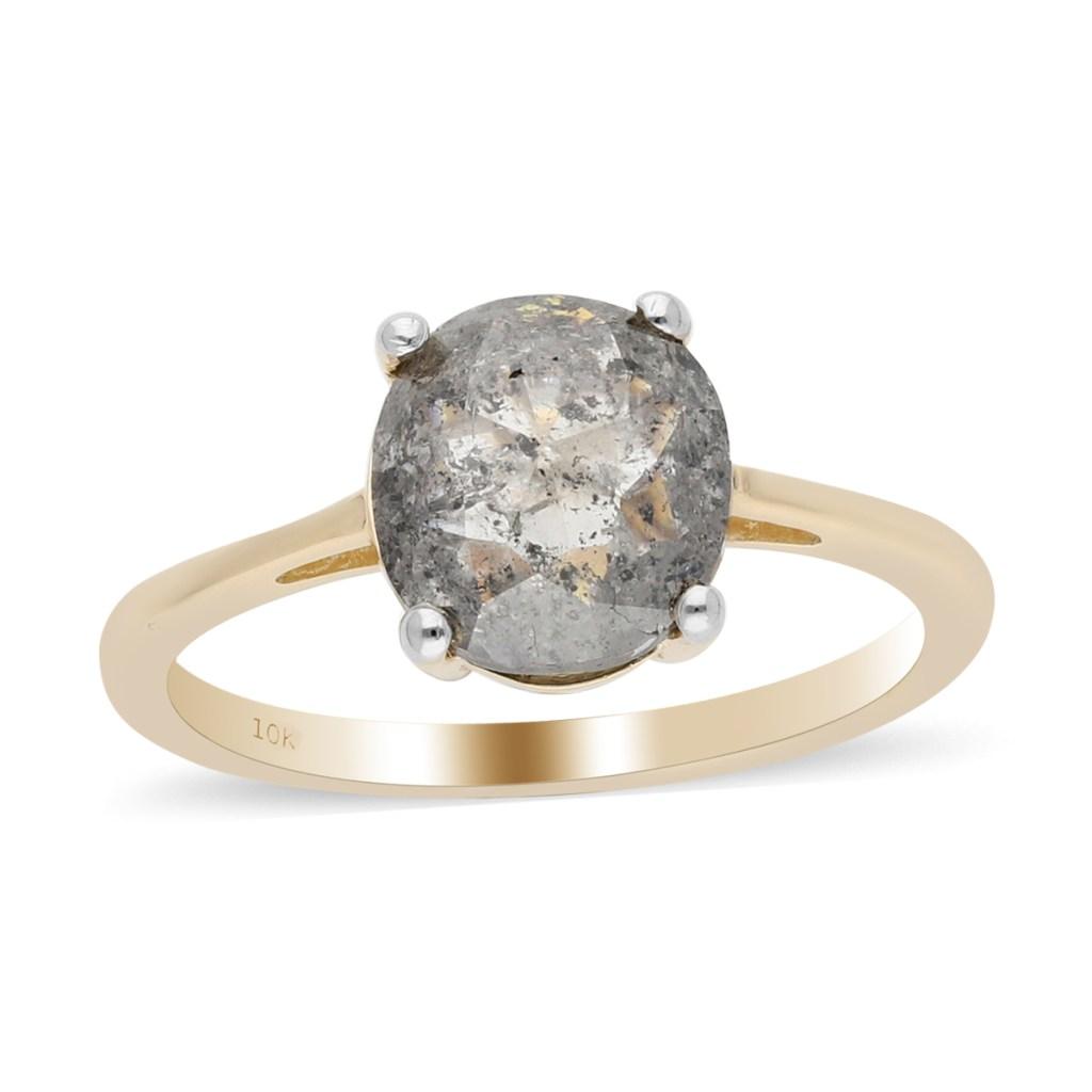Gray diamond solitaire ring.