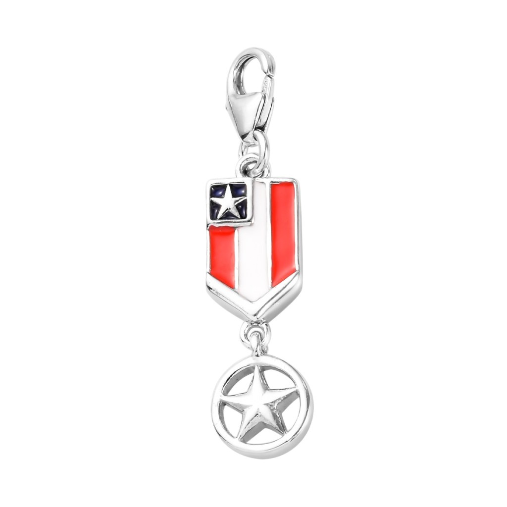 Sterling silver American flag charm.