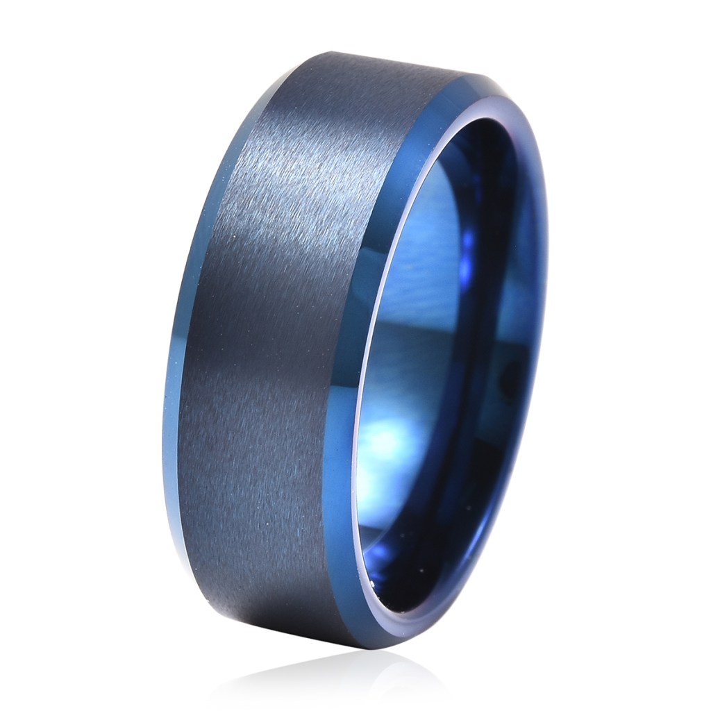 Blue tungsten band ring with brushed finish.