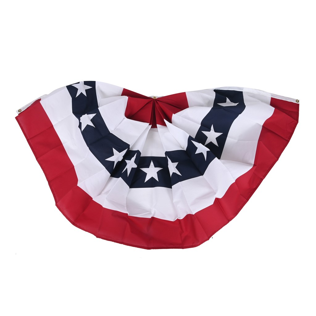 Red, white, and blue bunting.