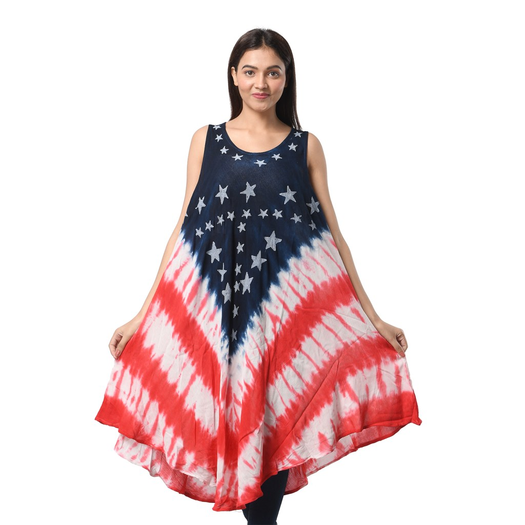 Red, white, and blue tie dye dress.