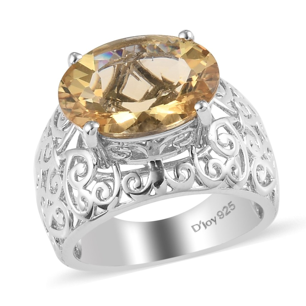 Yellow gem solitaire ring.