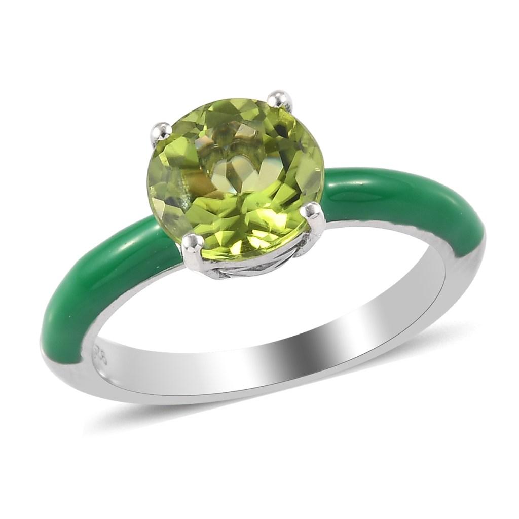 Giuseppe Perez green enamel ring with green gemstone.