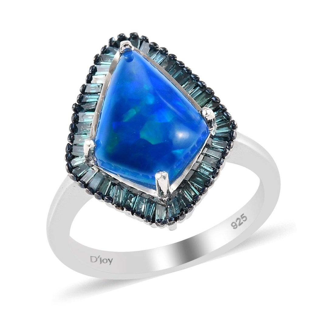 Miami Blue Welo opal ring in sterling silver.