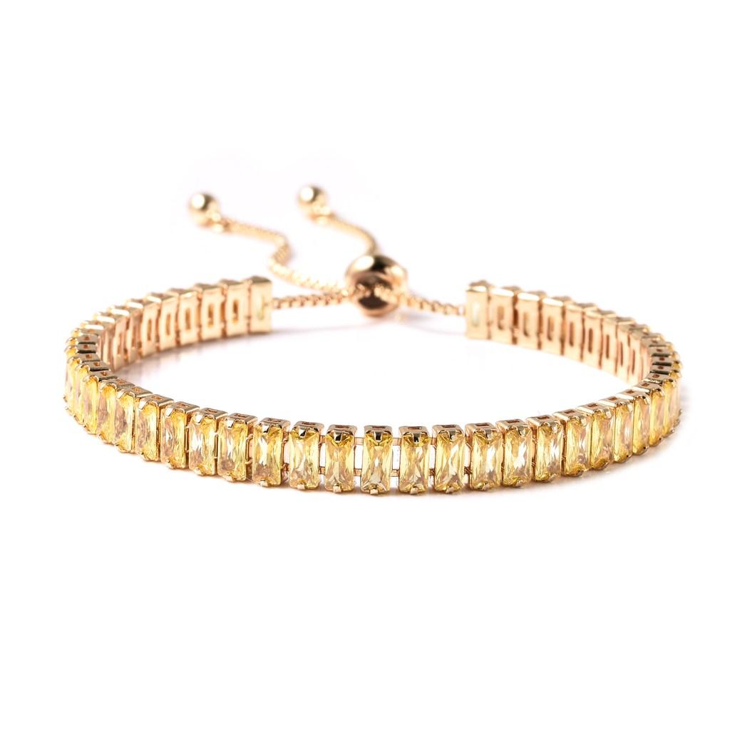 Simulated diamond bolo bracelet.