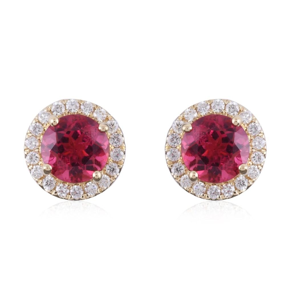 Rubellite stud earrings.