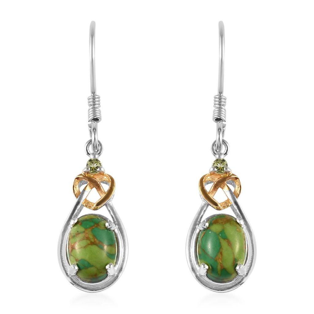 turquoise and peridot dangle earrings