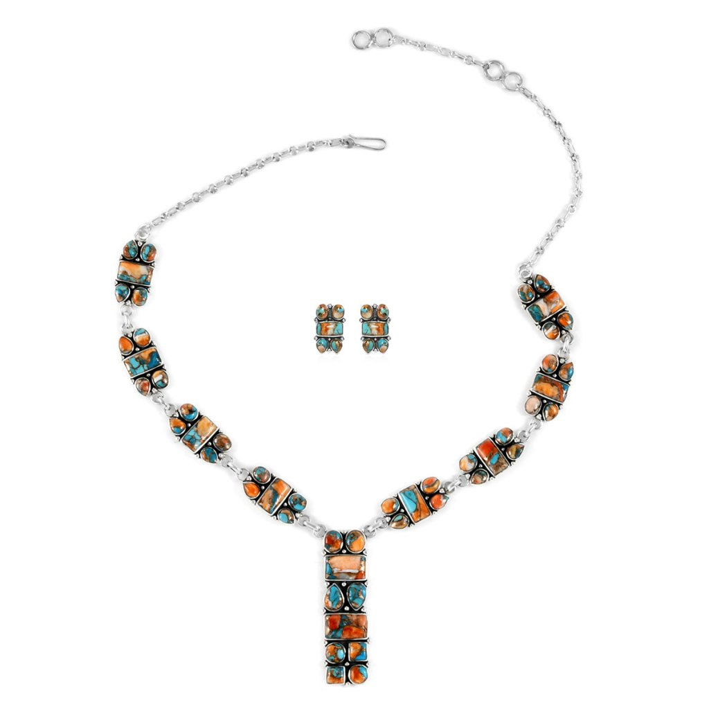 Turquoise y-necklace and earrings in sterling silver.