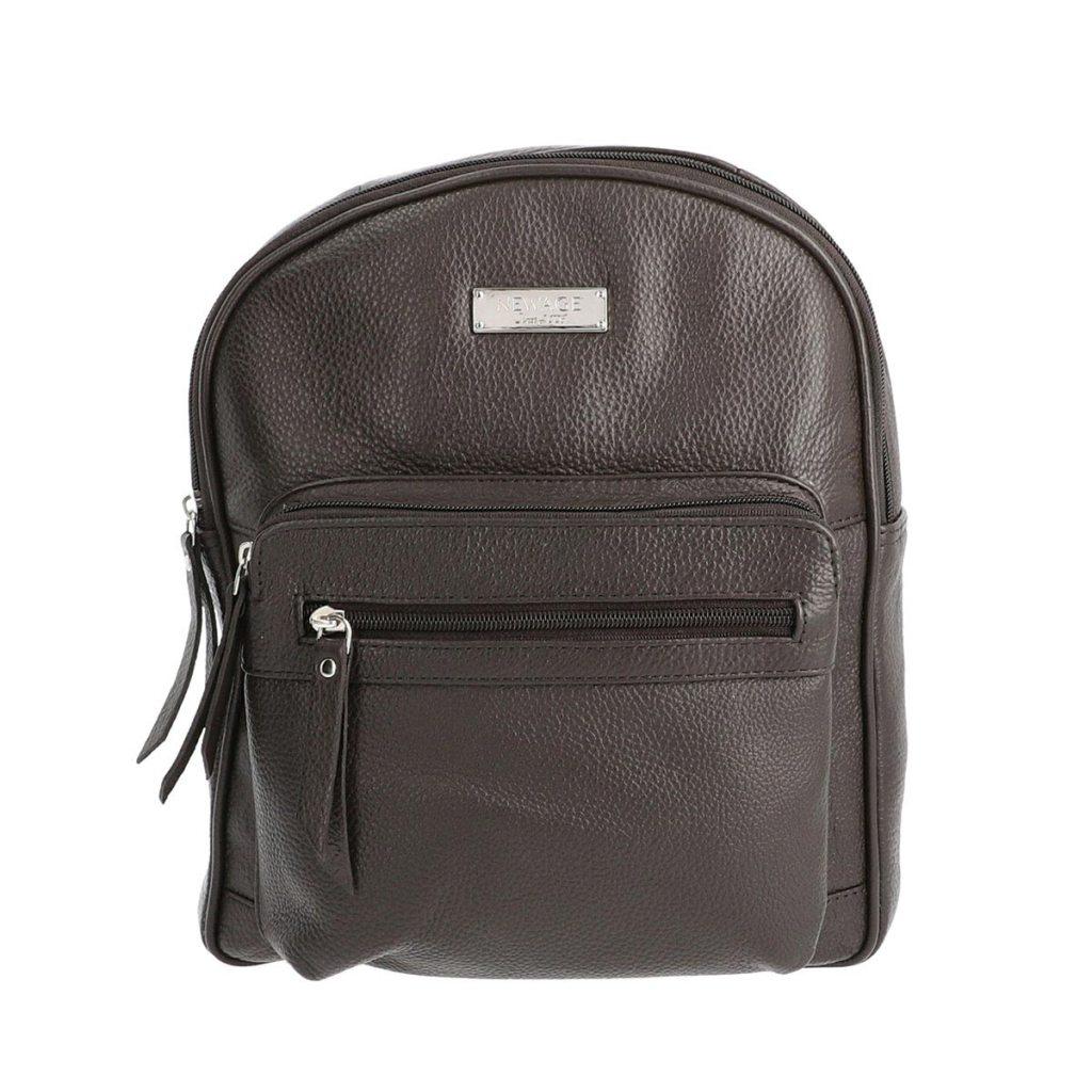 NEWAGE Dark Chocolate Genuine Leather Backpack