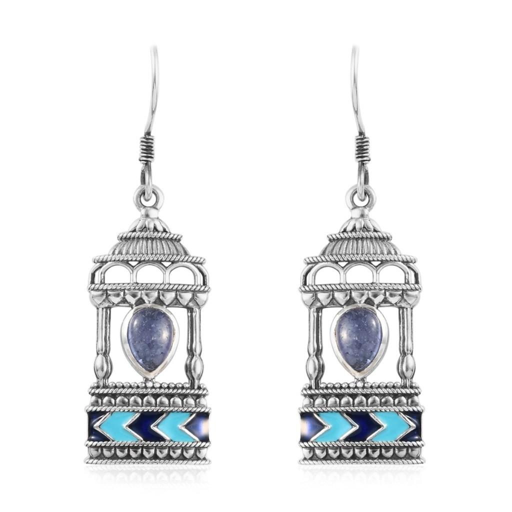 Indian earrings in sterling silver.