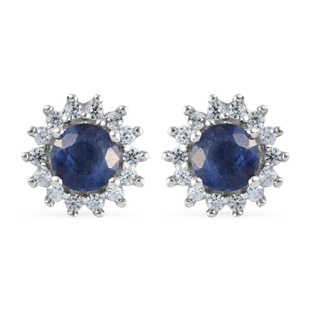 Masoala Sapphire and Zircon Halo Stud Earrings in Platinum Over Sterling Silver