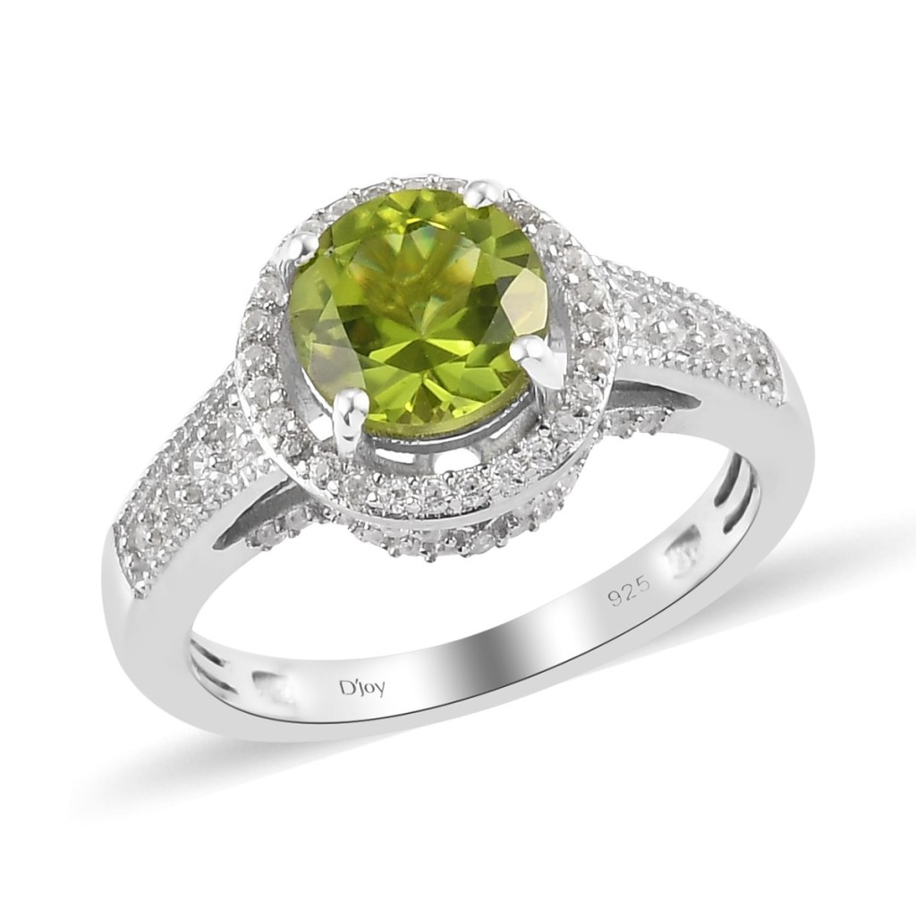 Peridot halo ring in sterling silver.