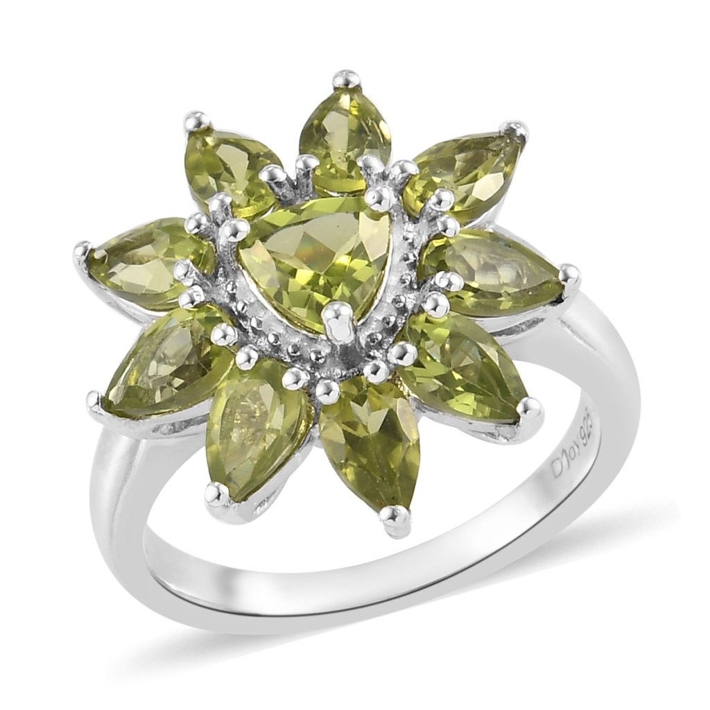 Green stone floral ring.