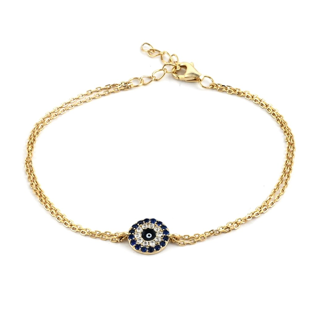 Simulated Diamond Bracelet in 14K Yellow Gold Over Sterling Silver