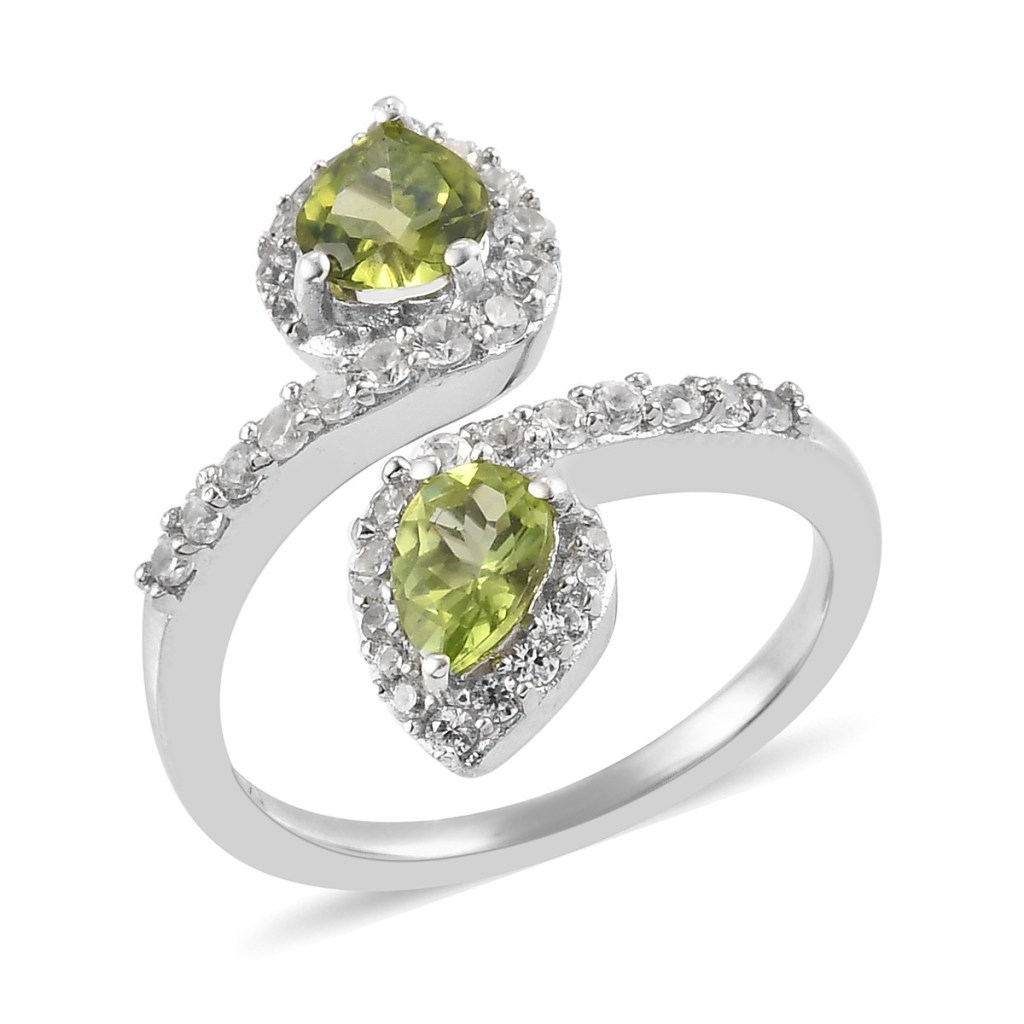 Arizona Peridot, Zircon Bypass Ring in Platinum Over Sterling Silver