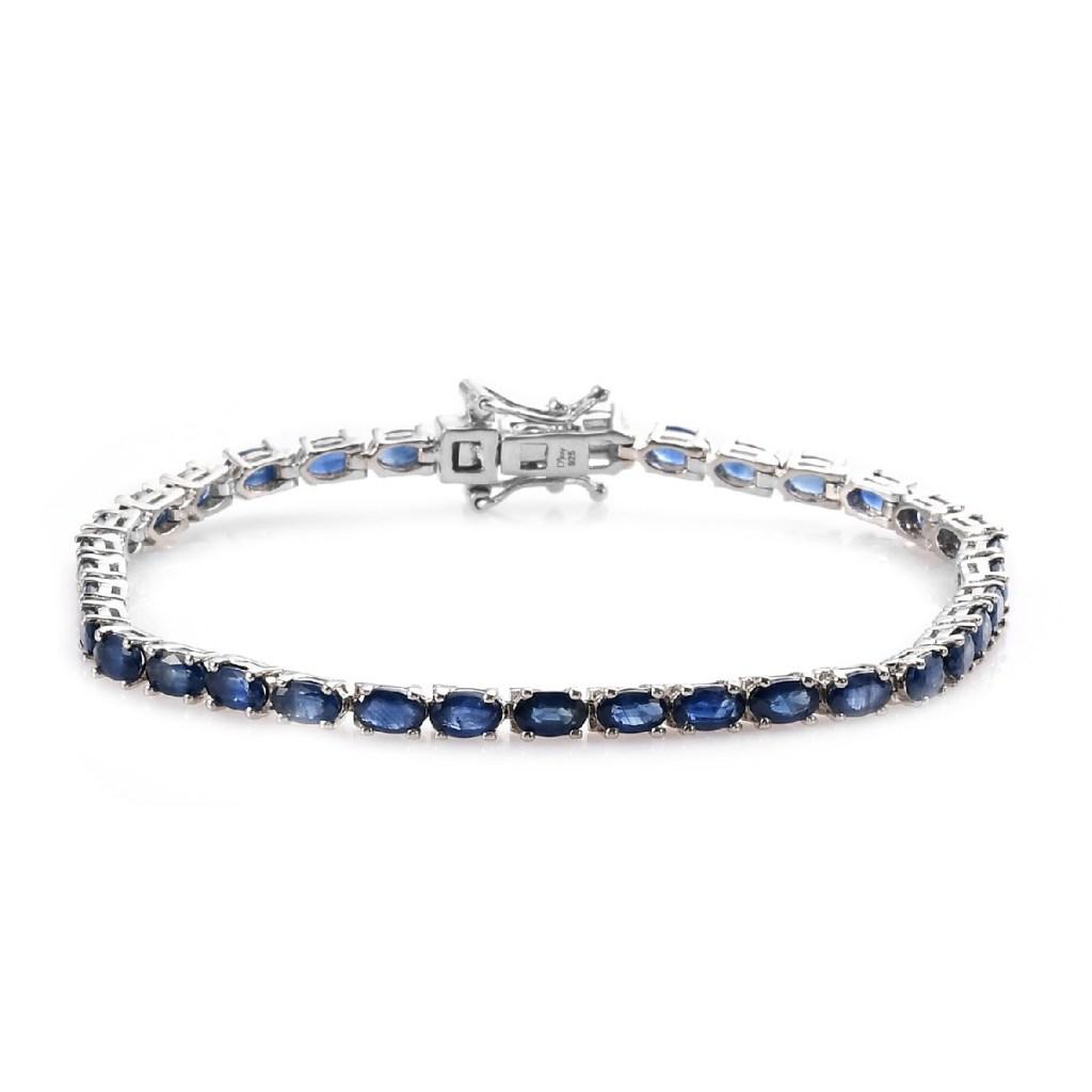 Kanchanaburi Blue Sapphire Tennis Bracelet in Platinum Over Sterling Silver