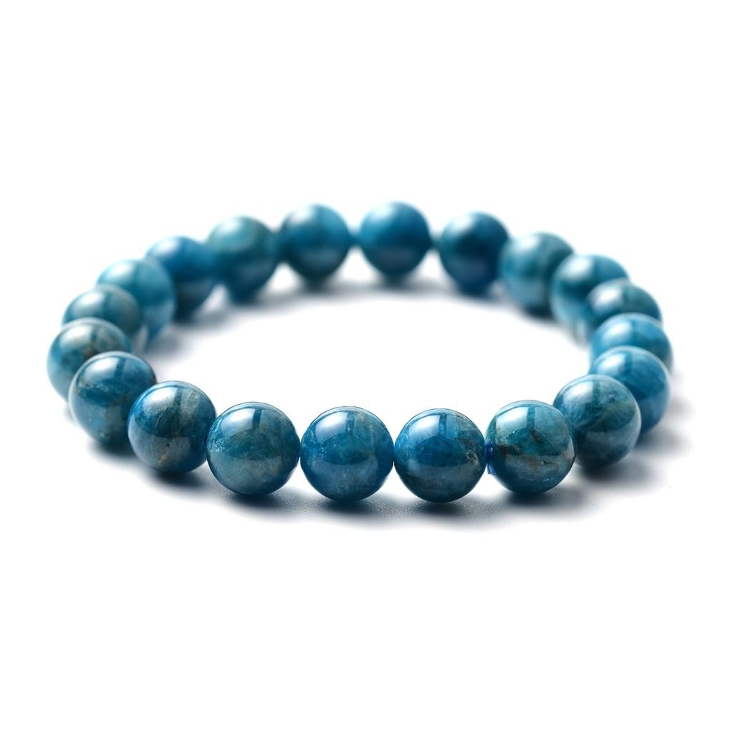 Opaque Blue Stone Beaded Stretch Bracelet