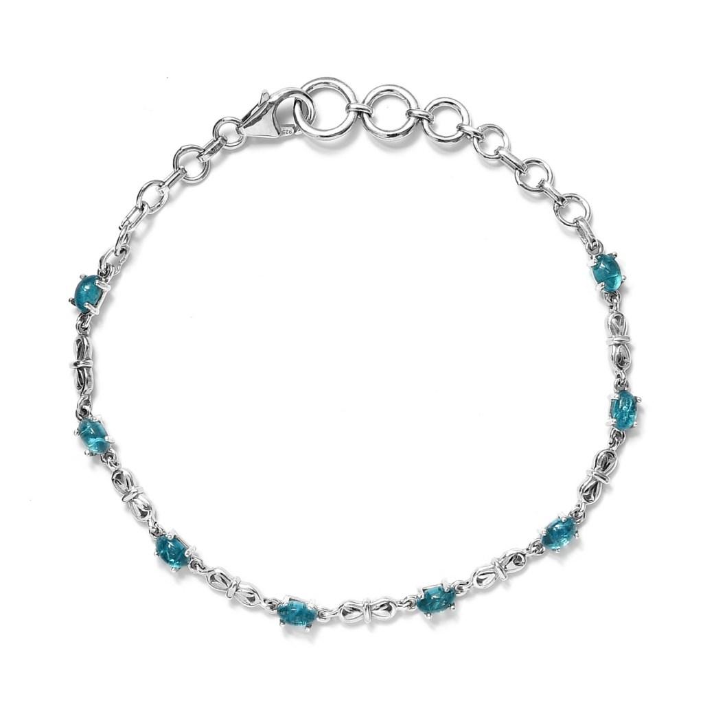 Malgache Neon Apatite Adjustable Station Bracelet in Platinum Over Sterling Silver