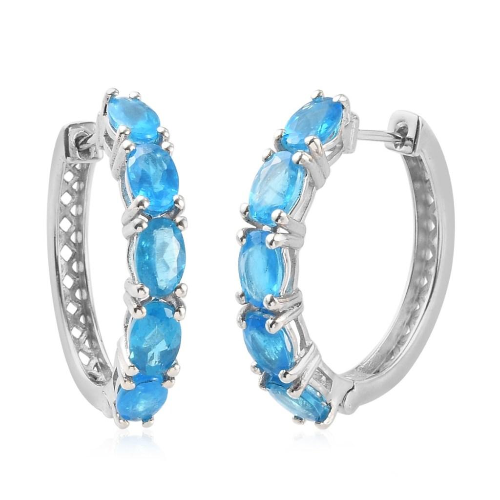 Blue Jewel Inside Out Hoop Earrings in Platinum Over Sterling Silver