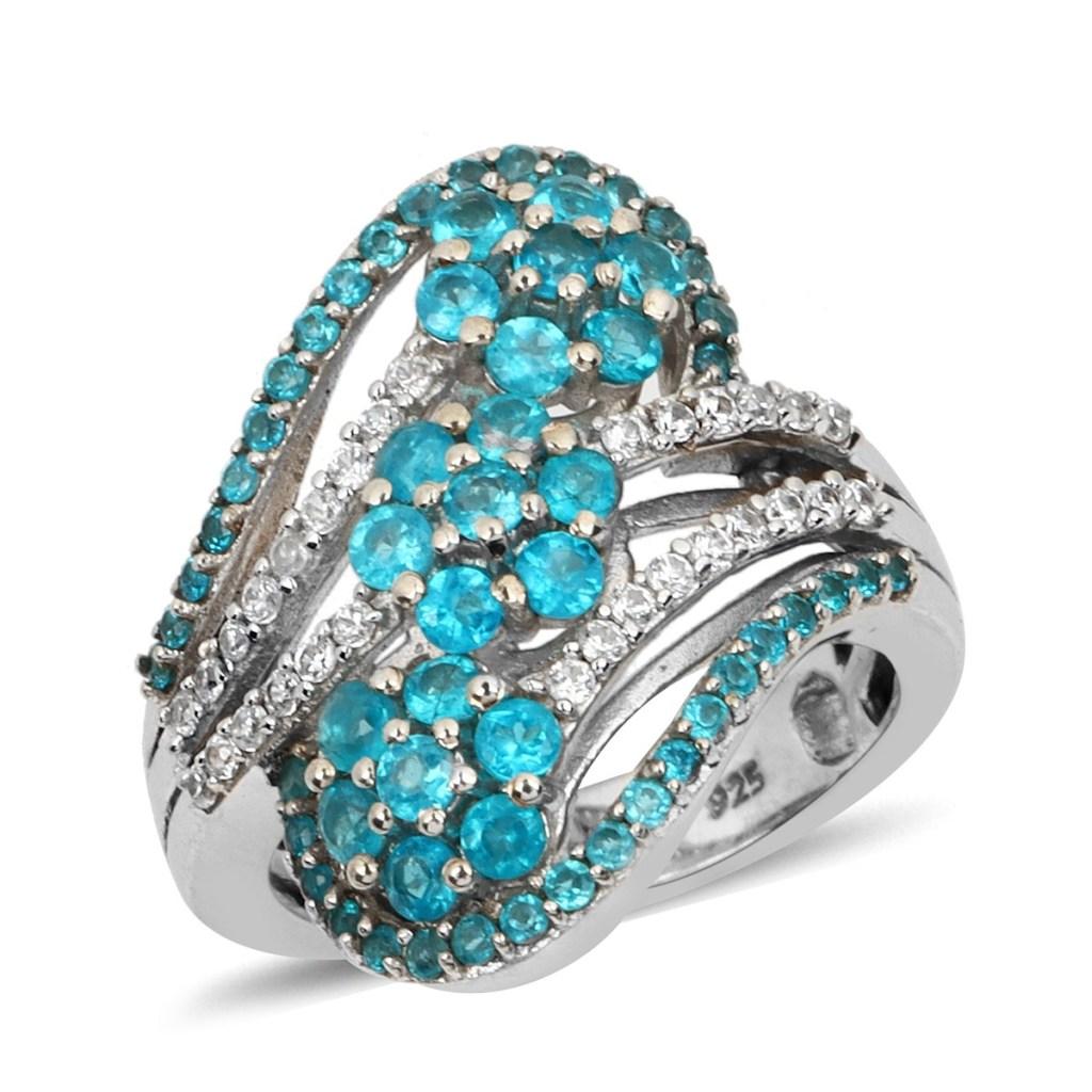 Malgache Neon Apatite and Zircon, Diamond Ring in Platinum Over Sterling Silver