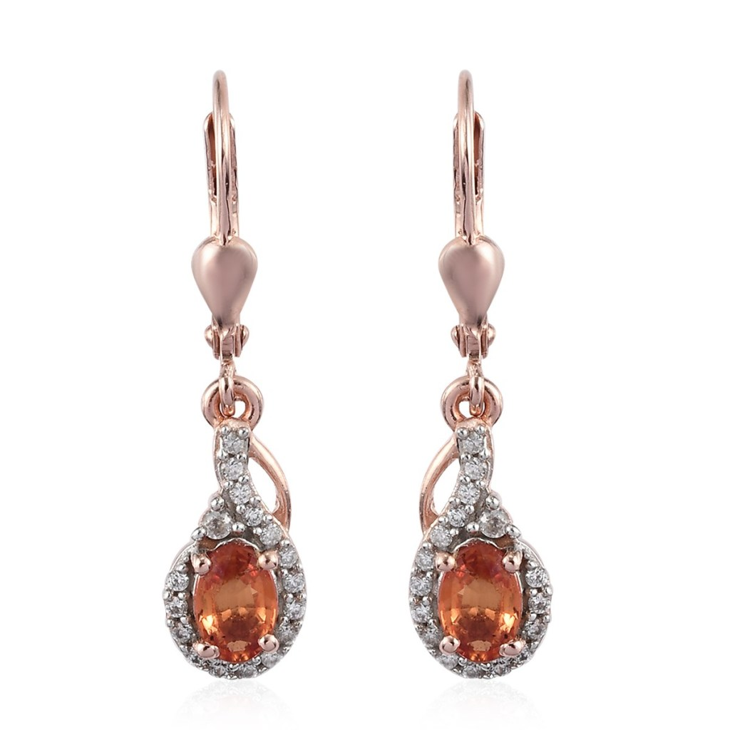 Orange Sapphire and Zircon Earrings in Vermeil Rose Gold Over Sterling Silver