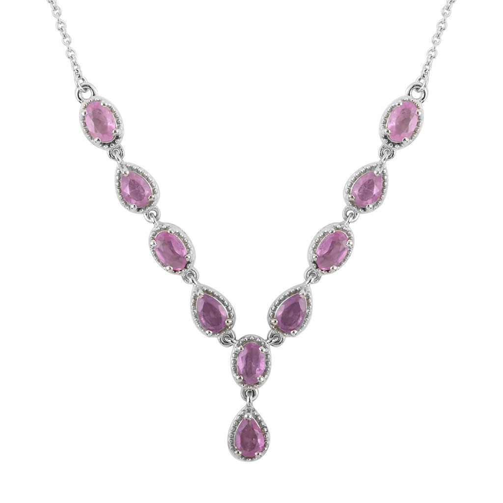 Ilakaka Hot Pink Sapphire Necklace 18 Inches in Platinum Over Sterling Silver
