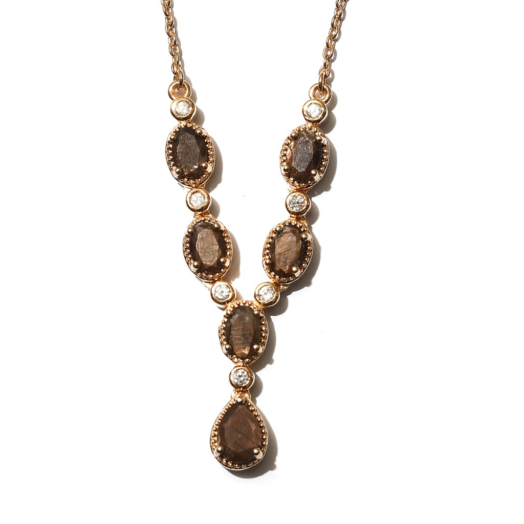 Natural Chocolate Gemstone and Zircon Necklace 18 Inches in Vermeil Yellow Gold Over Sterling Silver