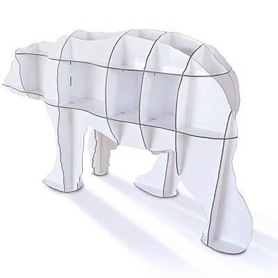 Este afable oso polar es en realidad una estantería que se convertirá en la estrella de tu casa.