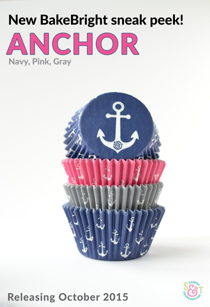 Anchor cupcake liners stack in pink, gray, and navy blue