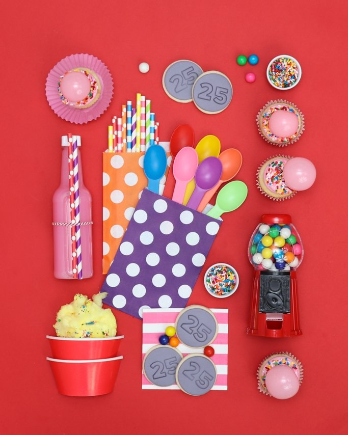 Valentine Party Supplies Style Board! Bubble Gum Valentine Party Ideas - I Chews You! With pops of rainbow color in sprinkles, gumballs, cupcakes, and other party supplies, this sweetscape is sure to be a go-to on your list!