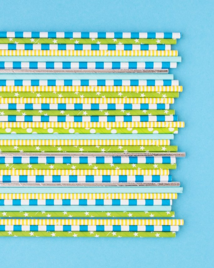 Science Birthday Party Paper Straws on blue background