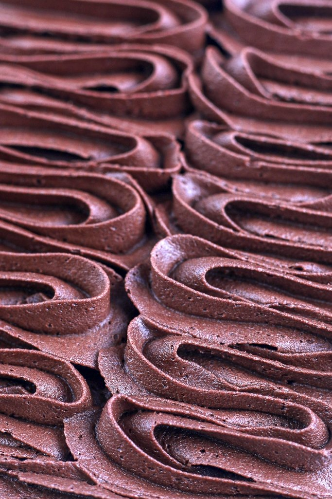 dark chocolate buttercream frosting piped in lines from piping tips