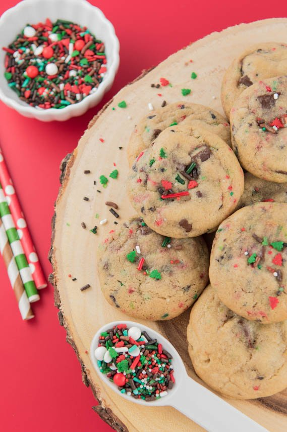 Lumberjack Christmas Cookies! Thick & chewy chocolate chip cookies filled with festive sprinkles -- perfect for any occasion!