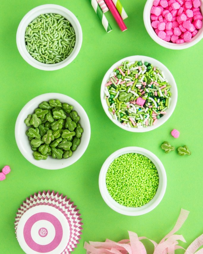 Cactus Party Sprinkles assortment on green background