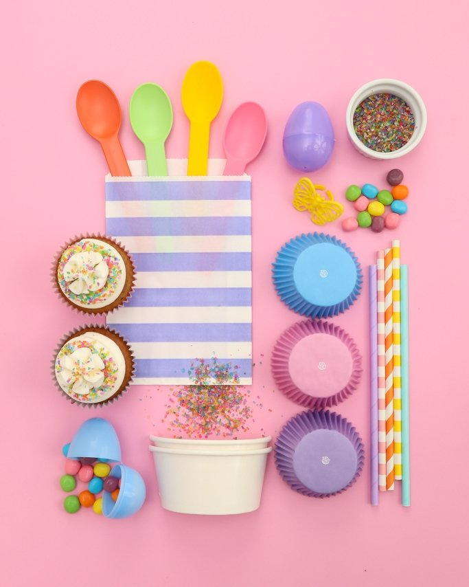 Pastel Easter Party Supplies collage on pink background