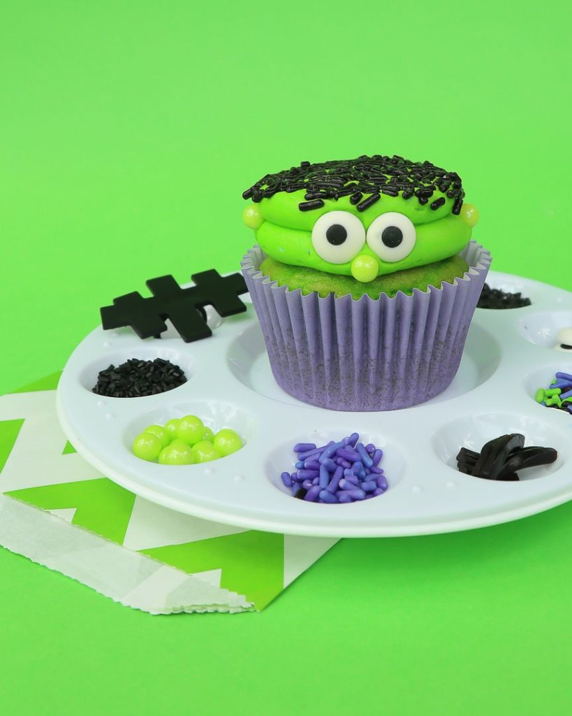 Frankenstein Kids Halloween Party Ideas - DIY Frankenstein Cupcakes