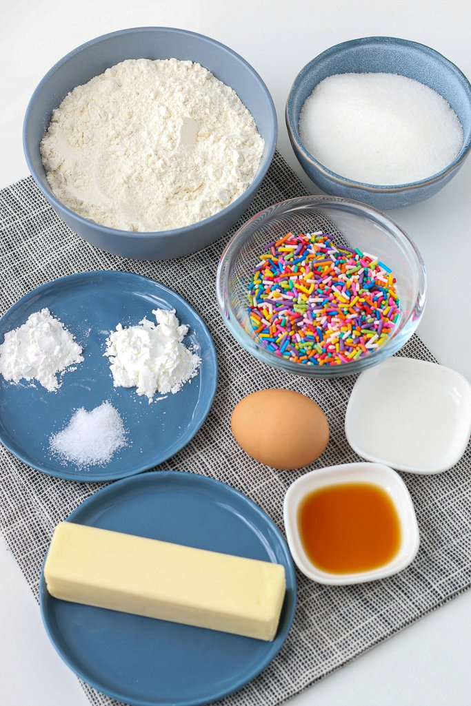 ingredients for homemade funfetti cookies recipe