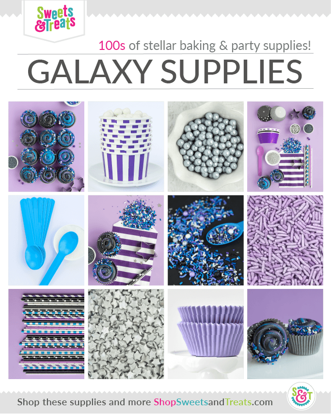 Galaxy Party Ideas + Baking Supplies - Outer Space Party Supplies collage