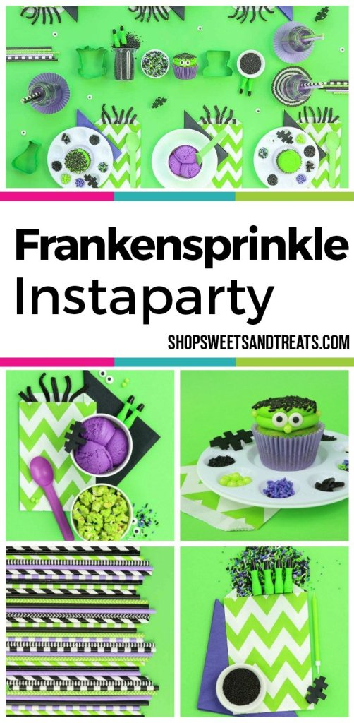 Halloween Party Ideas - Frankensprinkle Sweetscape Instaparty - Frankenstein inspired cupcakes using our Dragon Dreams sprinkle mix