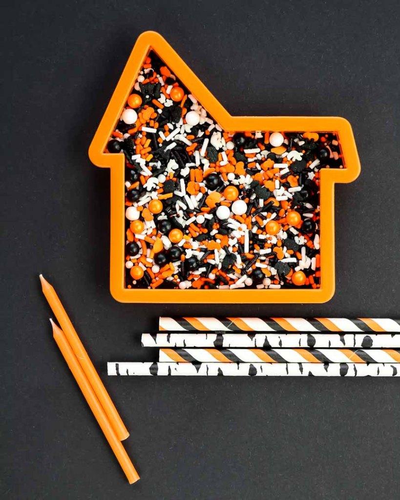Haunted House Halloween Sprinkles on black background