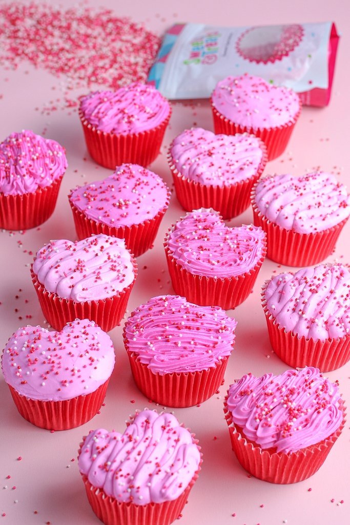 This image shows the finished product of transforming a heart shaped cupcake pan
