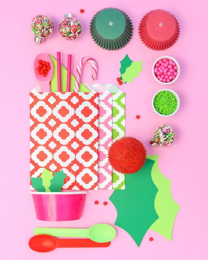 Modern girly Christmas Party Ideas board with pink, lime, red, and green.