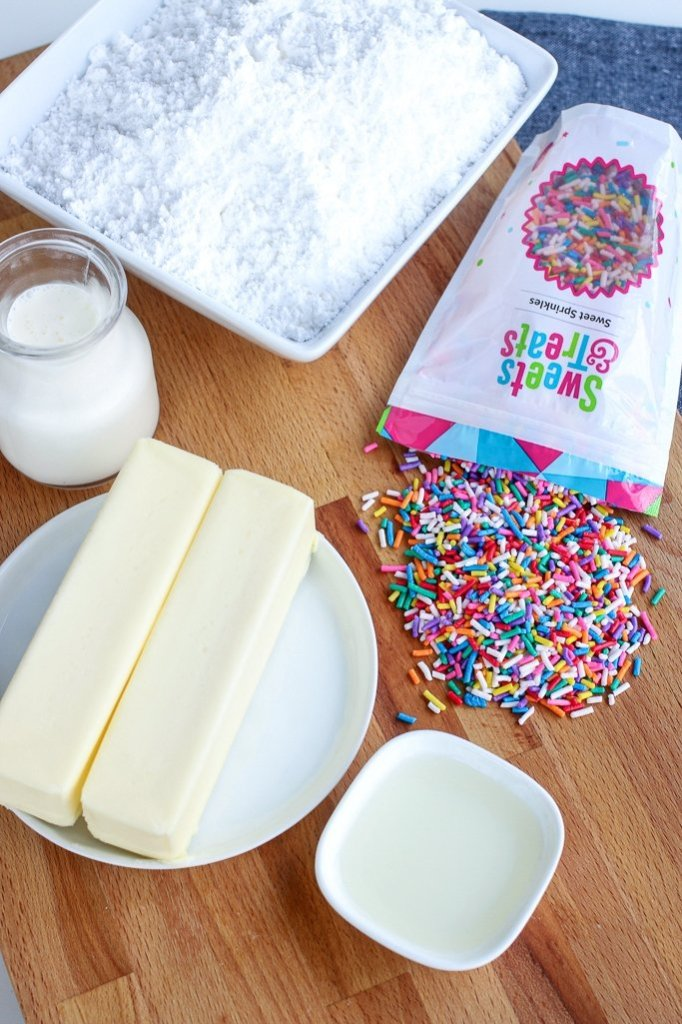 The ingredients to make funfetti buttercream frosting.