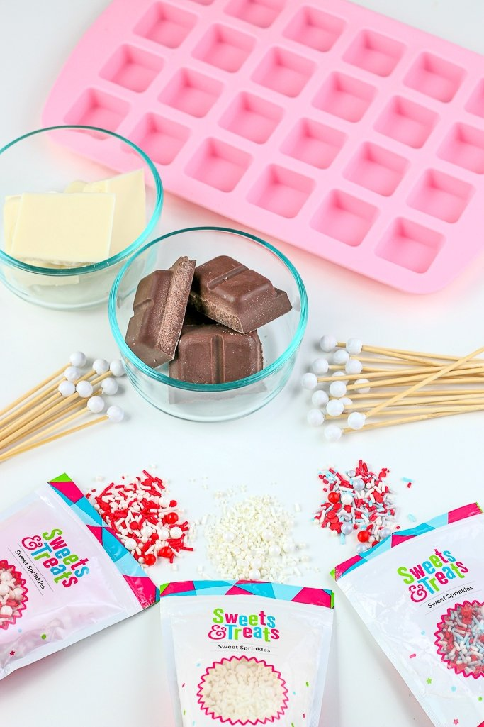 All the ingredients needed to make chocolate stirrers for hot chocolate.