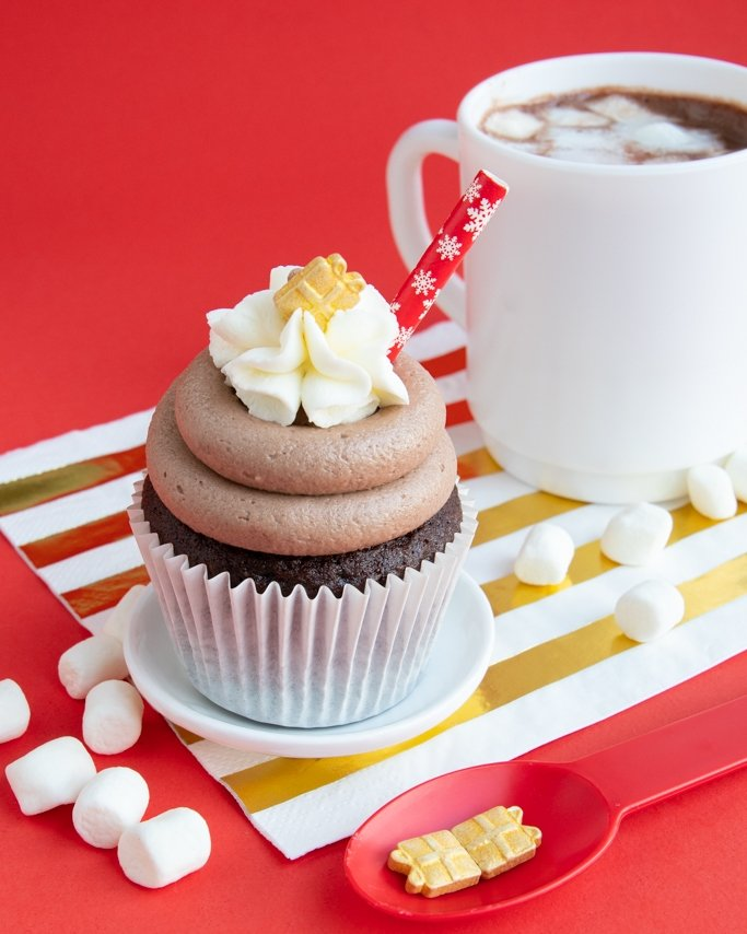 hot chocolate cupcakes with hot cocoa frosting, whipped cream topping and candy sprinkles